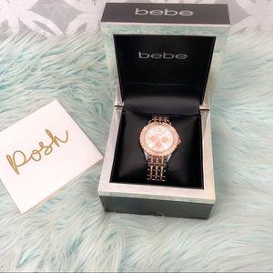 Bebe Crystal Two Tone Chronograph Bracelet Watch